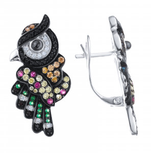 925 Sterling Silver pair earrings with cubic zircon and ceramics
