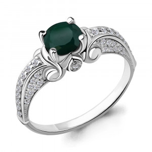 925 Sterling Silver women's rings with green agate and agate