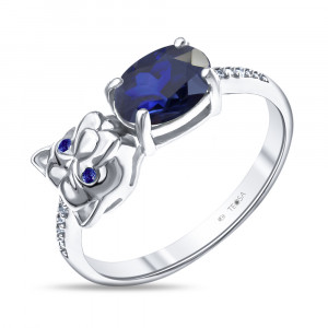 925 Sterling Silver women's rings with sapphire