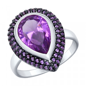 925 Sterling Silver women's rings with amethyst gt and sitall