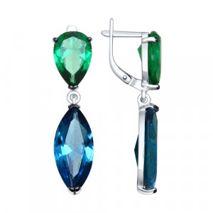 925 Sterling Silver pair earrings with nano sitall