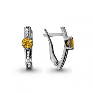 925 Sterling Silver pair earrings with citrine and cubic zirconia