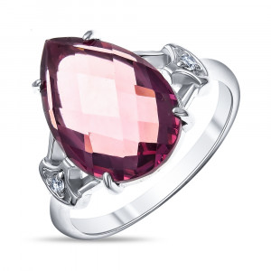 925 Sterling Silver women's rings with rhodolite gt and cubic zirconia
