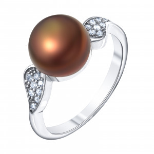 925 Sterling Silver women's rings with black cultivated pearls