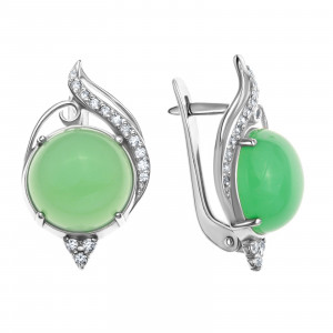 925 Sterling Silver pair earrings with jade and cubic zirconia