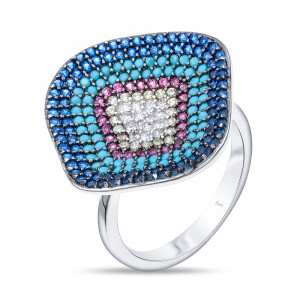 925 Sterling Silver women's rings with cubic zircon and turquoise imitation