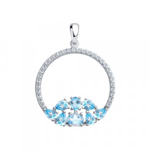 925 Sterling Silver pendants with topaz and cubic zirconia