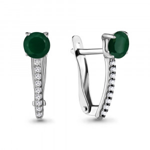 925 Sterling Silver pair earrings with green agate and cubic zirconia