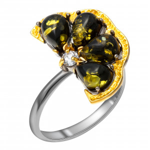 925 Sterling Silver women's rings with amber