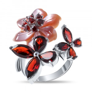 925 Sterling Silver women's rings with garnet and mother of pearl