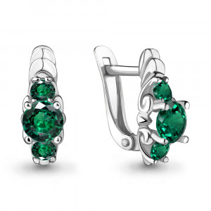 925 Sterling Silver pair earrings with nano emerald