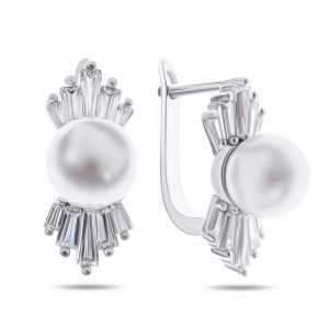 925 Sterling Silver pair earrings with pearl cult. and cubic zirconia