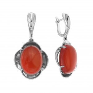 925 Sterling Silver pair earrings with malachite and carnelian