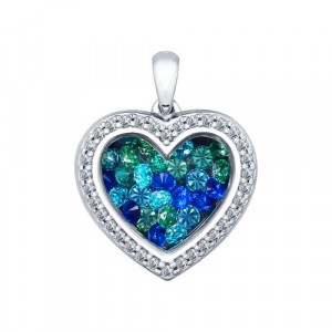 925 Sterling Silver pendants with sapphire and glass