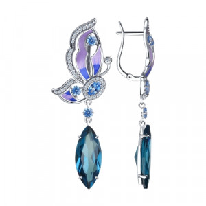 925 Sterling Silver pair earrings with cubic zirconia and sitall