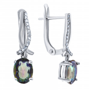 925 Sterling Silver pair earrings with  and mystic quartz
