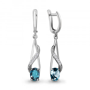 925 Sterling Silver pair earrings with london topaz