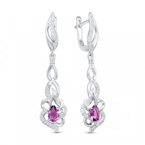 925 Sterling Silver pair earrings with glass and jewelry glass