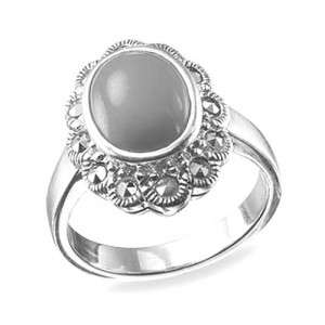 925 Sterling Silver women's ring with lapis and carnelian
