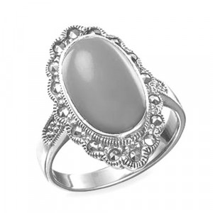 925 Sterling Silver women's ring with coral and green agate
