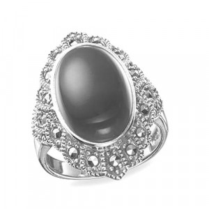 925 Sterling Silver women's ring with chrysoprase and green agate