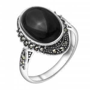 925 Sterling Silver women's rings with synthetic onyx
