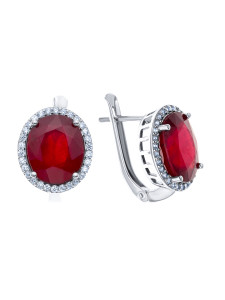 925 Sterling Silver pair earrings with corundum and