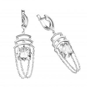 925 Sterling Silver pair earrings with quartz pl. ruby