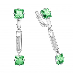 925 Sterling Silver pair earrings with quartz pl. emerald