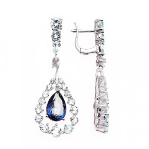 925 Sterling Silver pair earrings with topaz and mystic bluish
