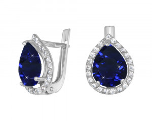 925 Sterling Silver pair earrings with synthetic quartz