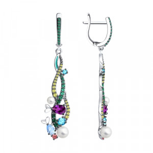 925 Sterling Silver pair earrings with cubic zirconia and pearl imit.