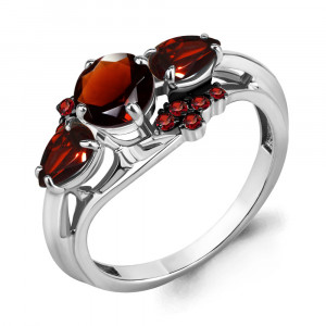 925 Sterling Silver women's rings with nano-tourmaline and garnet