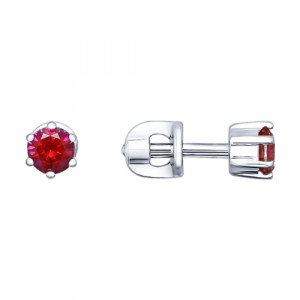 925 Sterling Silver pair earrings with synthetic corundum and enamel