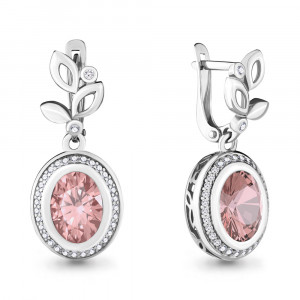925 Sterling Silver pair earrings with morganite hydroterm. and morganite