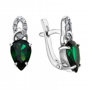 925 Sterling Silver pair earrings with  and tourmaline