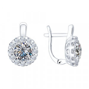925 Sterling Silver pair earrings with cubic zirconia and cubic zirconia swarovski