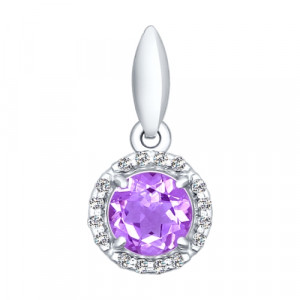 925 Sterling Silver pendants with amethyst and cubic zirconia