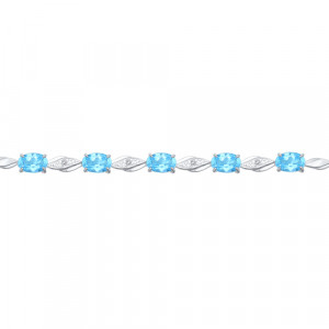 925 Sterling Silver bracelets with topaz and cubic zirconia
