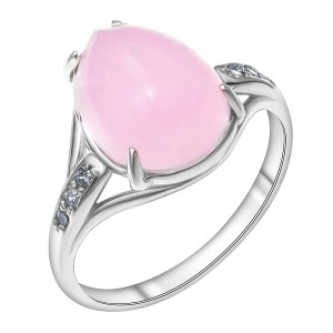 925 Sterling Silver women's rings with pink quartz and