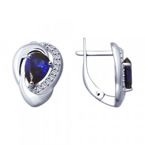 925 Sterling Silver pair earrings with corundum and cubic zirconia
