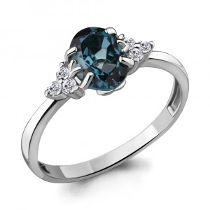 925 Sterling Silver women's rings with cubic zirconia and london topaz