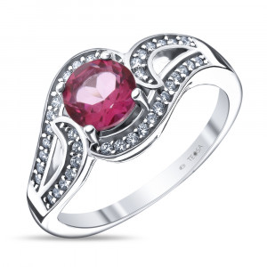 925 Sterling Silver women's rings with pink topaz