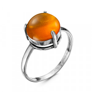 925 Sterling Silver women's rings with synthetic amber