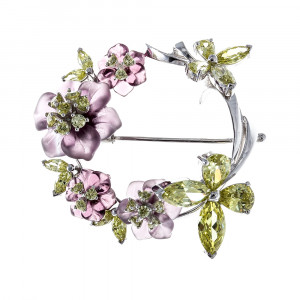 925 Sterling Silver brooches with quartz and cubic zirconia