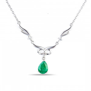 925 Sterling Silver necklaces with  and emerald