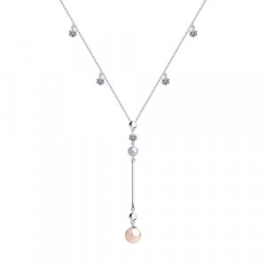 925 Sterling Silver necklaces with cubic zirconia swarovski and pearl