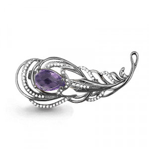 925 Sterling Silver brooches with cubic zirconia and amethyst