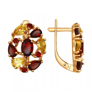 925 Sterling Silver pair earrings with garnet and citrine