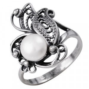 925 Sterling Silver women's rings with pearl